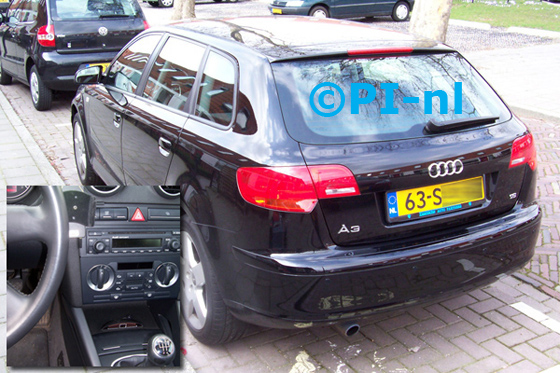 Audi A3 Sportback 1.6 Attraction Pro Line uit 2006. De display (set A 2010) werd in de middenconsole gemonteerd.